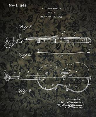 Brocade Violin Patent Poster by Dan Sproul