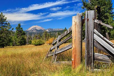 Broken Fence And Mount Lassen Poster