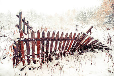 Broken Fence In Winter Poster by Jenny Rainbow