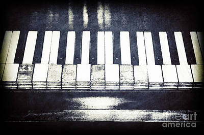 Broken Keys In Black And White Poster by Emily Kay