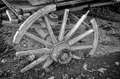 Broken Wagon Wheel In Black And White Poster