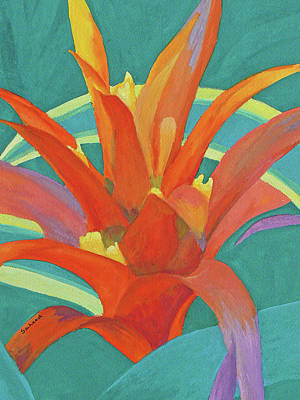 Poster featuring the painting Bromeliad Glow by Margaret Saheed