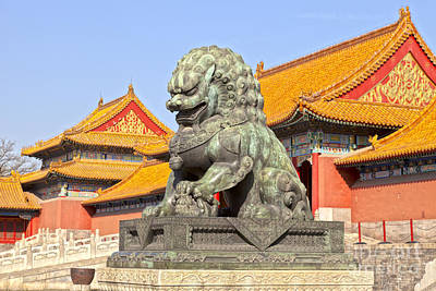 Bronze Lioness Forbidden City Beijing Poster by Colin and Linda McKie