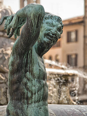 Bronze Satyr In The Statue Of Neptune Poster
