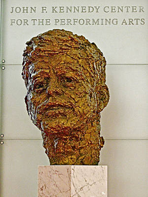 Bronze Sculpture Of President Kennedy In The Kennedy Center In Washington D C  Poster