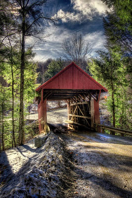 Sterling Covered Bridge - Stowe Vermont Poster by Joann Vitali