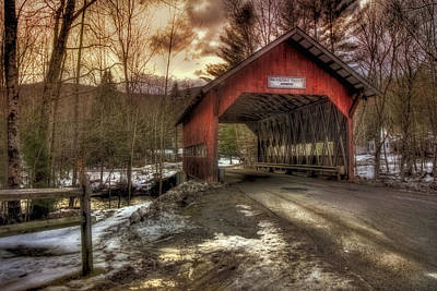 Brookdale Covered Bridge - Stowe Vt Poster by Joann Vitali