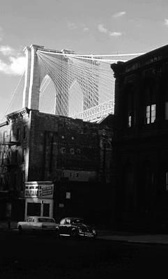 Poster featuring the photograph Brooklyn Bridge 1970 by John Schneider