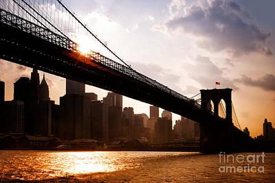 Brooklyn Bridge And Skyline Manhattan New York City Poster