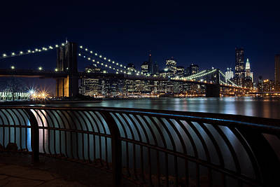 Brooklyn Bridge At Night Poster by David Smith