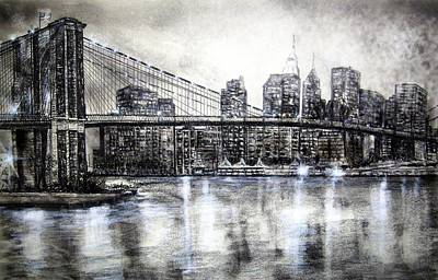 Brooklyn Bridge Drawing Poster by Leland Castro