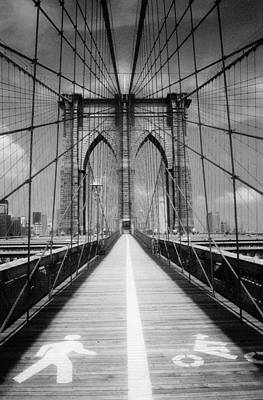 Poster featuring the photograph Brooklyn Bridge Infrared by Dave Beckerman
