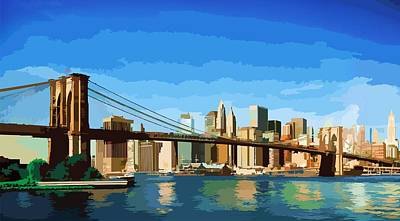 Poster featuring the digital art Brooklyn Bridge  by P Dwain Morris