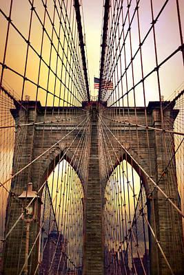 Brooklyn Bridge Sunrise Poster by Jessica Jenney