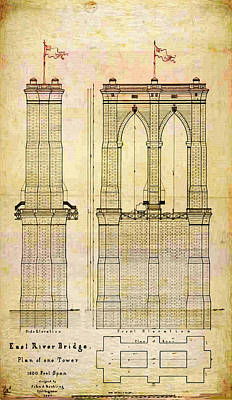 Brooklyn Bridge Tower One Plans Poster by Bill Cannon
