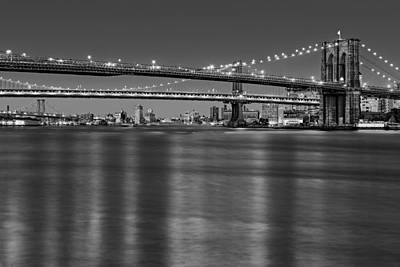 Brooklyn Manhattan And Williamsburg Bridges Nyc Bw Poster by Susan Candelario