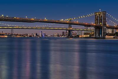 Brooklyn Manhattan And Williamsburg Bridges Nyc Poster by Susan Candelario