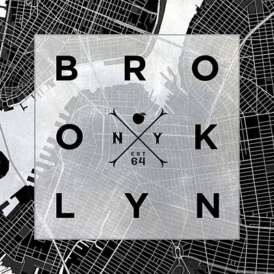 Brooklyn Square Bw Poster by South Social Studio