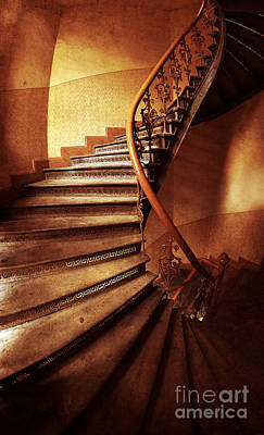 Brown And Orange Spiral Staircase Poster