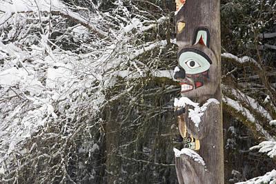 Brown Bear Totemic Figure On Tlingit Poster by Joel Bennett