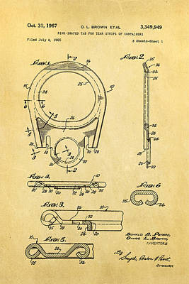 Brown Can Ring Pull Patent Art 1967 Poster