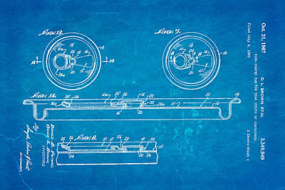 Brown Can Ring Pull Patent Art 2 1967 Blueprint Poster