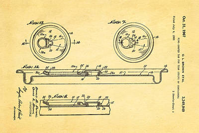 Brown Can Ring Pull Patent Art 2 1967 Poster