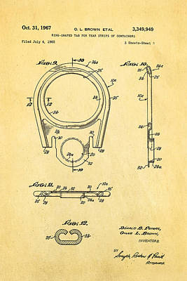 Brown Can Ring Pull Patent Art  3 1967 Poster