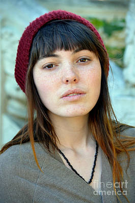 Brown Haired And Freckle Faced Natural Beauty Model Xi Poster