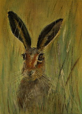Poster featuring the painting Brown Hare Miniature by Lynn Hughes