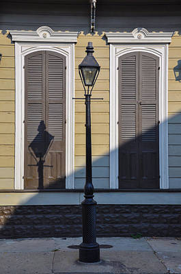 Brown Shutter Doors And Street Lamp - New Orleans Poster by Bill Cannon