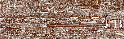 Brown Tone Harvest Scene Sketch Style Panorama Poster by Minding My  Visions by Adri and Ray