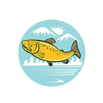 Brown Trout Jumping Circle Cartoon Poster