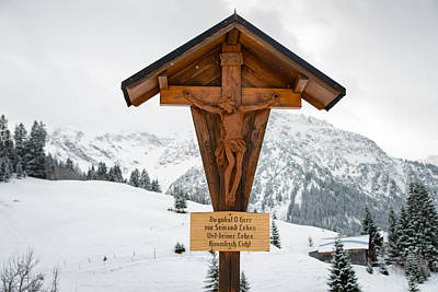 Brown Wayside Crucifix In The Mountains In Winter With Snow Poster