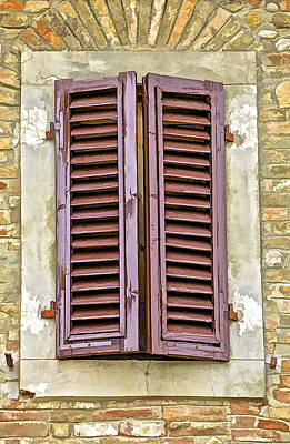 Brown Wood Shutters On An Exposed Brick Wall In Tuscany Poster