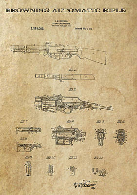 Browning Automatic Rifle 2 Patent Art 1919 Poster by Daniel Hagerman