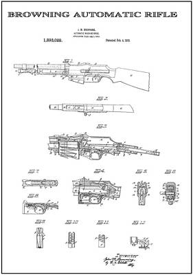 Browning Automatic Rifle 3 Patent Art 1919 Poster by Daniel Hagerman