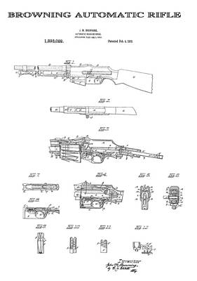 Browning Automatic Rifle 4 Patent Art 1919 Poster by Daniel Hagerman