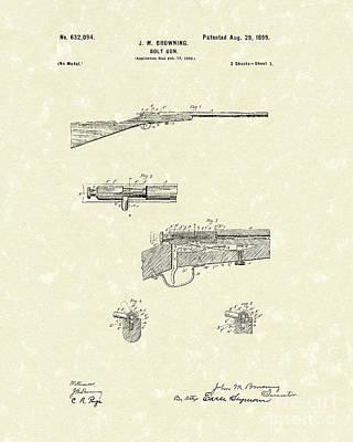 Browning Bolt Gun 1899 Patent Art Poster by Prior Art Design