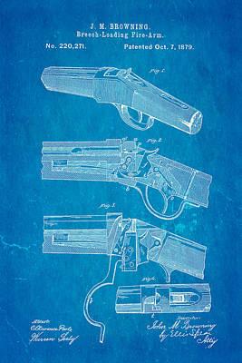 Browning Breech Loader Patent Art 1879 Blueprint Poster