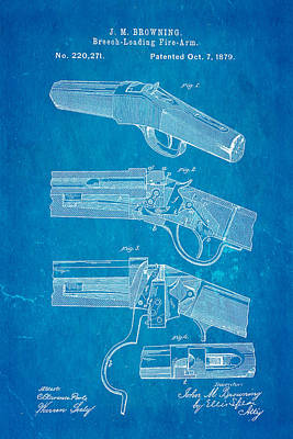 Browning Breech Loader Patent Art 1879 Blueprint Poster by Ian Monk