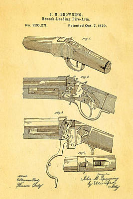 Browning Breech Loader Patent Art 1879 Poster by Ian Monk