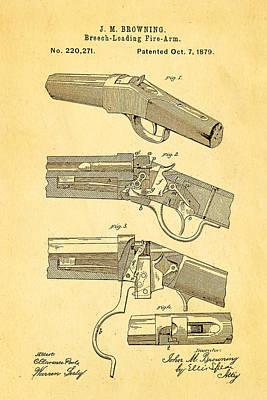 Browning Breech Loader Patent Art 1879 Poster