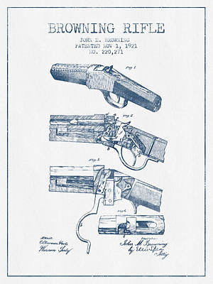 Browning Rifle Patent Drawing From 1921 -  Blue Ink Poster by Aged Pixel