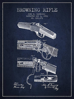 Browning Rifle Patent Drawing From 1921 - Navy Blue Poster by Aged Pixel