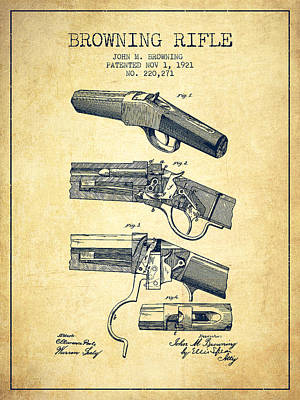 Browning Rifle Patent Drawing From 1921 - Vintage Poster by Aged Pixel