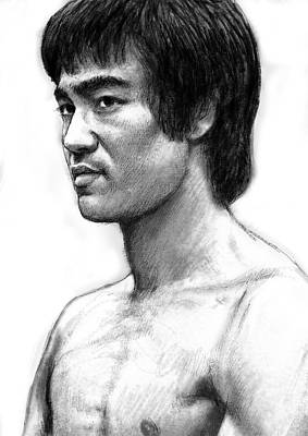 Bruce Lee Art Drawing Sketch Portrait Poster by Kim Wang