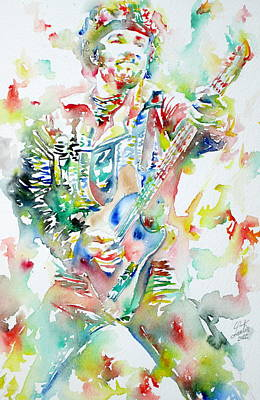 Bruce Springsteen Playing The Guitar Watercolor Portrait Poster