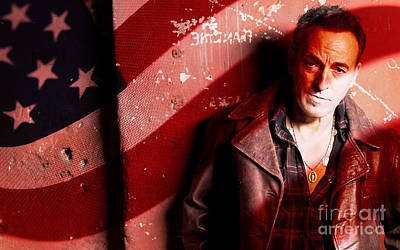 Bruce Springsteen Today And Yesteryear Poster by Marvin Blaine