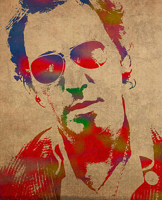 Bruce Springsteen Watercolor Portrait On Worn Distressed Canvas Poster